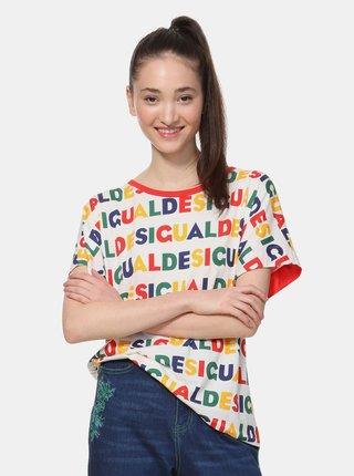 Krémové vzorované tričko Desigual Ramkey
