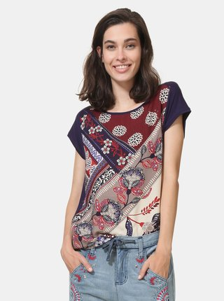 Tmavě fialové vzorované tričko s kamínky Desigual Ganges