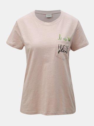 Starorůžové tričko s kapsou Jacqueline de Yong Kid