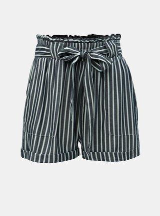 Pantaloni scurti albastru inchis in dungi cu talie inalta ONLY Manhattan