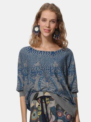 Pulover albastru-gri cu model si amestec de in Desigual Lisburn