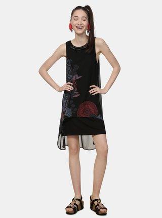 Čierne vzorované šaty s korálkami Desigual Siena