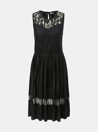 Černé plisované šaty s krajkovými detaily Jacqueline de Yong Marni