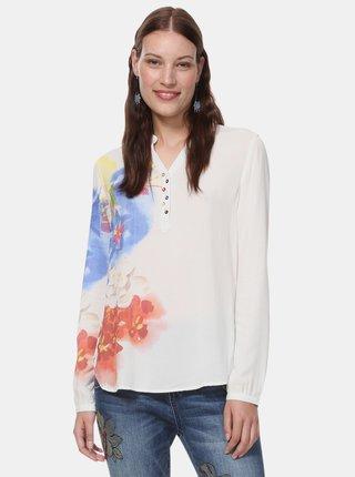 Bluza alba florala Desigual Ibiscus