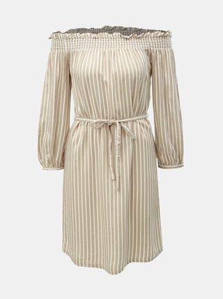 Béžové pruhované šaty ONLY Samantha