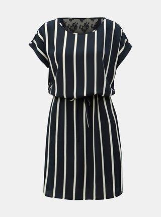 Tmavě modré pruhované šaty s krajkou na zádech ONLY Laida