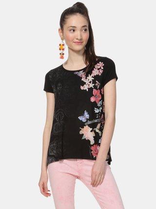 Tricou negru floral cu insertie Desigual Panama