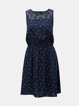 Tmavomodré bodkované šaty VERO MODA Boca