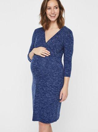 Modré žíhané těhotenské šaty s 3/4 rukávem Mama.licious Giana