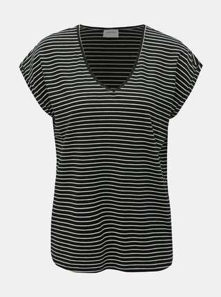 Tricou basic negru in dungi VERO MODA AWARE Ava