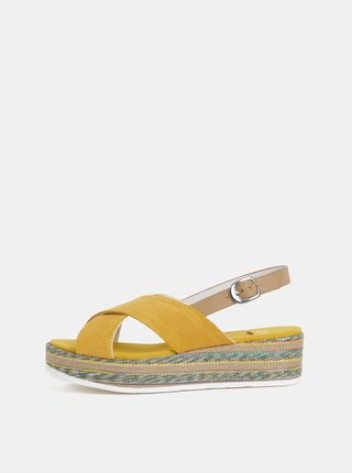 Hořčicové dámské semišové sandály U.S. Polo Assn.