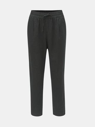 Černé lněné kalhoty s vysokým pasem VERO MODA Anna