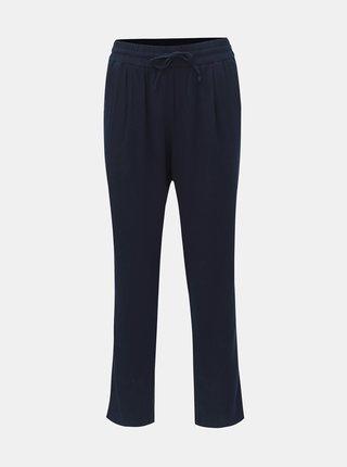 Pantaloni albastru inchis din in cu talie inalta VERO MODA Anna