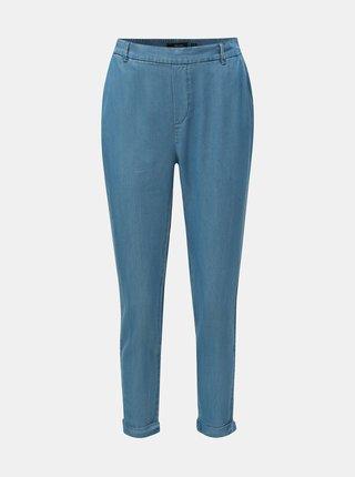 Modré zkrácené kalhoty s vysokým pasem VERO MODA Maya