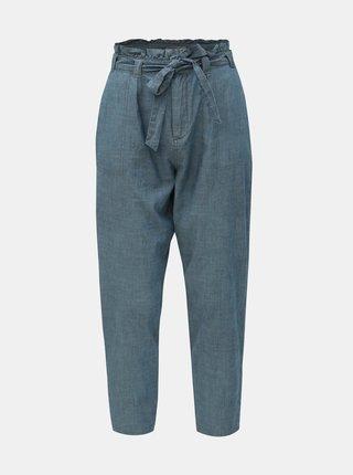 Pantaloni albastri pana la glezne cu talie inalta VERO MODA Emily