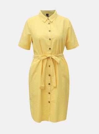 Žluté košilové šaty VERO MODA Abena