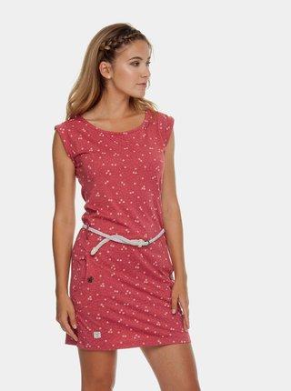 Červené vzorované šaty s páskem Ragwear Tag