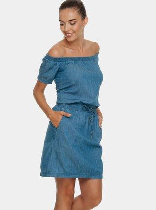 Rochie albastra din denim cu decolteu pe umeri Ragwear Everly Denim