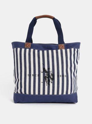 Tmavě modrá dámská pruhovaná taška U.S. Polo Assn.