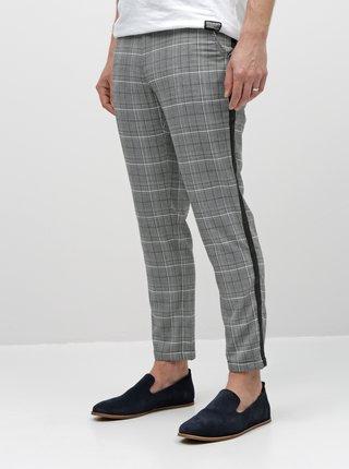 Pantaloni gri in carouri chino pana la glezne Shine Original
