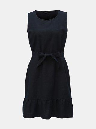 Tmavě modré lněné šaty VERO MODA Anna