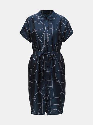 Tmavomodré vzorované košeľové šaty VERO MODA Love