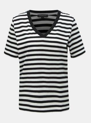 Tricou basic alb-negru in dungi Selected Femme Standard