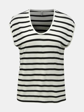 Tricou basic negru-crem in dungi ONLY Wilma