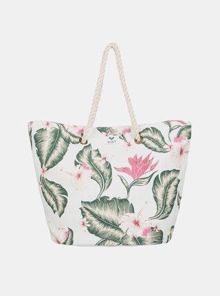 Krémová kvetovaná plážová taška Roxy Sunseeker