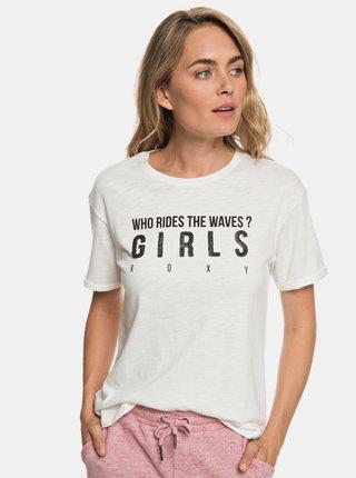 Krémové tričko s flitry Roxy Follow Beach