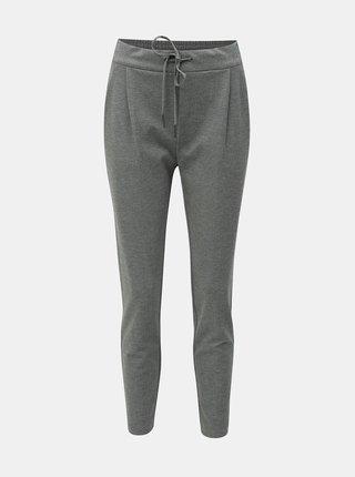 Šedé žíhané zkrácené kalhoty s vysokým pasem VERO MODA Eva