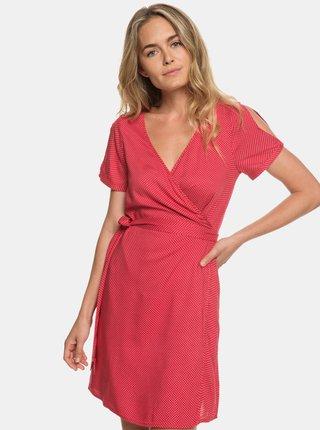 Červené puntíkované zavinovací šaty s průstřihy Roxy Monument View