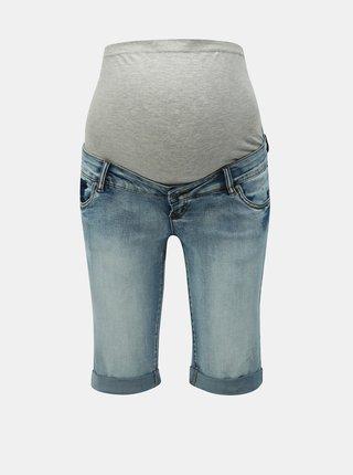 Modré džínové těhotenské slim fit kraťasy Mama.licious