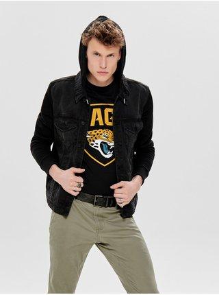 Jacheta neagra din denim cu maneci din tricot ONLY & SONS Coin
