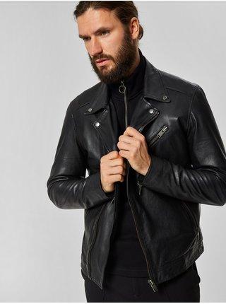 Jacheta biker neagra din piele Selected Homme Biker