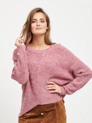 Ružový melírovaný sveter s predĺženou zadnou časťou VILA Kaleida