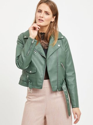 Jacheta verde din piele sintetica VILA Jane