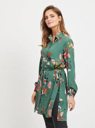 Zelená kvetovaná dlhá košeľa s rozparkami VILA Mule