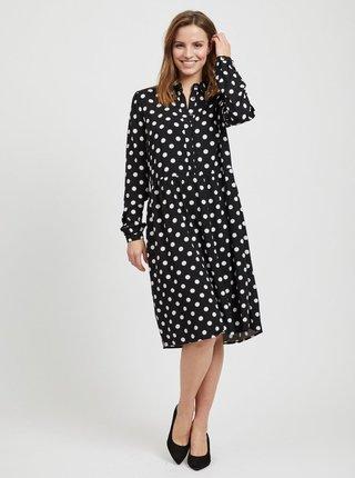 Bílo-černé puntíkované košilové šaty VILA Dotla