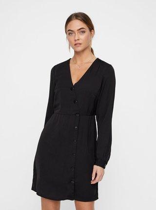 Čierne šaty s ozdobnými gombíkmi VERO MODA Baya