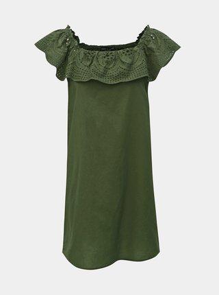 Zelené šaty s madeirou a odhalenými rameny Dorothy Perkins