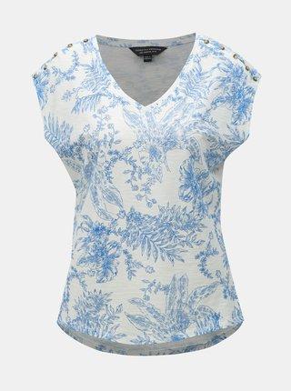 Modro-bílé květované tričko Dorothy Perkins