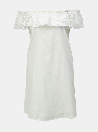 Bílé šaty s madeirou a odhalenými rameny Dorothy Perkins