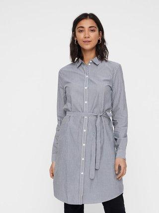 Bílo-šedé košilové pruhované šaty s páskem VERO MODA Silje