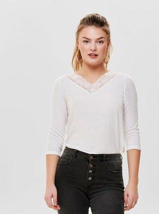 Bílé tričko s krajkou a 3/4 rukávem ONLY Glamour