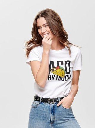 a6f792dc2ecc Biele tričko s potlačou a korálkovou aplikáciou ONLY Tally