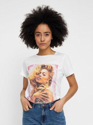 Tricou alb cu imprimeu Noisy May Nate Beyoncé