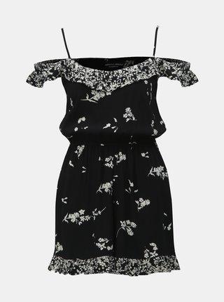 Čierny kvetovaný overal s volánmi Dorothy Perkins