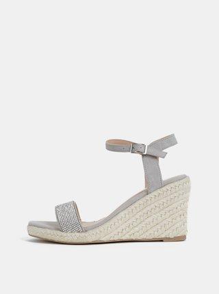 Sandale gri deschis cu aspect de piele intoarsa si platforma wedge Dorothy Perkins