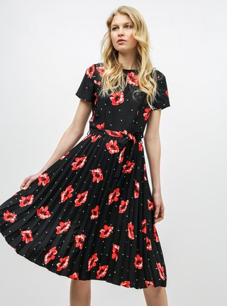 Rochie plisata neagra florala cu decupaj la decolteu Dorothy Perkins